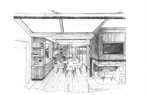 Kitchen Concept Sketch of Mid-Century Modern Ranch Renovation - Pen and Pencil